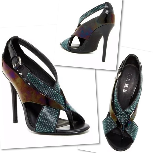 L.A.M.B. Shoes - L.A.M.B. BEVERLEE PERFORATED SHOES  SANDALS HEELS